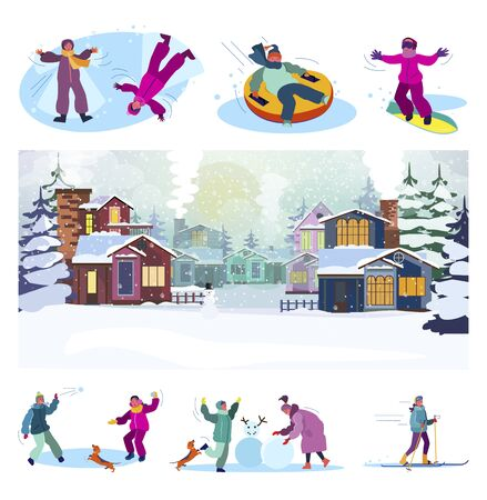 Winter suburb street set. Children snowboarding, skiing, playing snowballs, having fun. Flat vector illustrations. Vacation, outdoor activity concept for banner, website design or landing web page