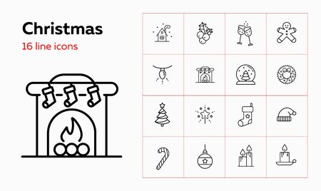 Christmas line icon set. Mistletoe, gingerbread, stocking, candle. Celebration concept. Can be used for topics like Xmas eve, home party, ornament