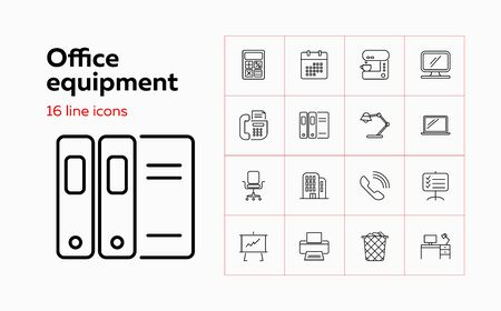 Office equipment line icon set. Calculator, monitor, computer. Work tools concept. Can be used for topics like stationery, facilities, workplace Ilustração Vetorial