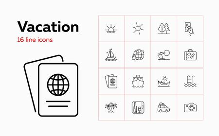Vacation icons. Set of line icons. Forest, tropical island, camera. Beach holidays concept. Vector illustration can be used for topics like summer resort, travel, tourism