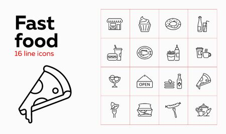 Fast food line icon set. Cupcake, sausage, fish. Eating concept. Can be used for topics like menu, cafe, restaurant meals Ilustracja