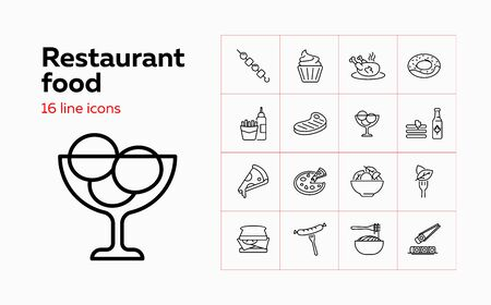 Restaurant food line icon set. Chicken, doughnut, sandwich. Eating concept. Can be used for topics like menu, cafe, cooking Stock Illustratie