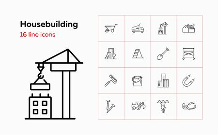 Housebuilding line icon set. Dump truck, scaffold, business center. Construction concept. Can be used for topics like real estate development, site, building works