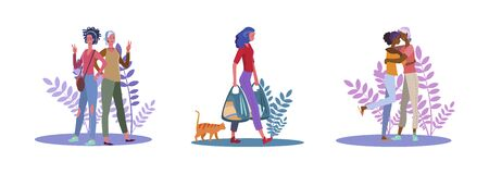 Set of female friends posing for camera and embracing. Flat vector illustrations of woman carrying grocery bags. Friendship, going out, shopping concept for banner, website design or landing web page