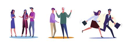 Set of office staff discussing and managing project in rush. Flat vector illustrations of dad and son arguing. Deadline, dispute, communication concept for banner, website design or landing web page