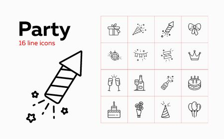 Party line icon set. Decoration, crown, alcohol, dessert, gift. Celebration concept. Can be used for topics like birthday, wedding, surprise, holiday Vettoriali