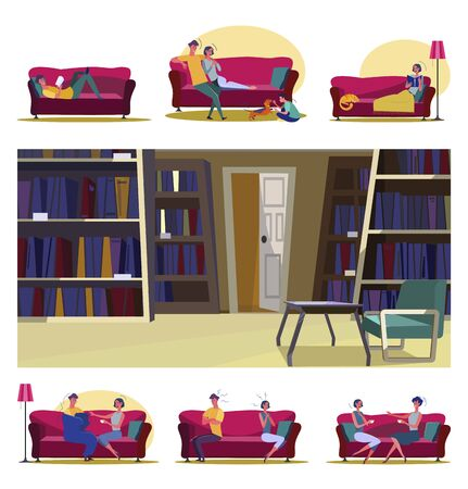 Communication in living room set. People arguing, reading alone on couch, archive interior. Flat vector illustrations. Relationship, leisure concept for banner, website design or landing web page Ilustrace