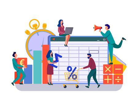 Ilustración de vector de aplicación de contabilidad. Profesionales que trabajan en informes financieros, analizando hoja de datos. Equipo de contable que utiliza software de contabilidad.