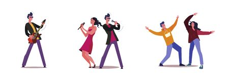 Set of band giving music show for audience. Flat vector illustrations of people dancing together. Music performance, dancing, entertainment concept for banner, website design or landing web page