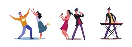 Set of man and woman dancing and singing. Flat vector illustrations of performer playing on keyboard. Music concert, performance, entertainment concept for banner, website design or landing web page