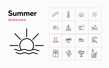 Summer icons. Set of line icons. Hot air balloon, sun, thermometer, cold drink. Vacation concept. Vector illustration can be used for topics like summer resort, leisure, travel Banco de Imagens - 138969415