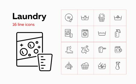 Laundry line icon set. Powder, basin, soap. Household concept. Can be used for topics like garment care, guide, manual