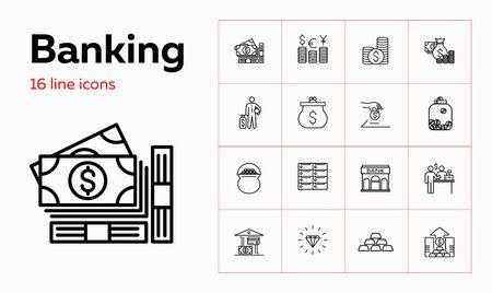 Banking line icon set. Purse, currency, credit card, gold bars. Finance concept. Can be used for topics like saving, deposit, investment 일러스트