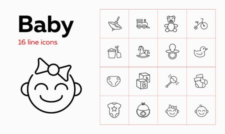 Baby line icon set. Diaper, teddy bear, crib. Child care concept. Can be used for topics like toys, nursery, children room Ilustração
