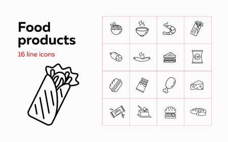 Food products line icon set. Set of line icons on white background. Chicken, butter, hot dog. Food concept. Vector illustration can be used for topics like restaurant, eating, food market