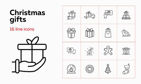 Christmas gifts line icon set. Present box, truck, shopping bag. Celebration concept. Can be used for topics like giving gifts, Xmas sale, delivery, shipping
