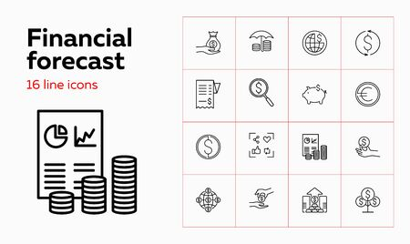 Financial forecast icons. Set of line icons. Analytics, profit, capital. Budget concept. Vector illustration can be used for topics like saving money, income, fund