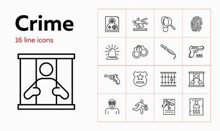 Crime line icon set. Prisoner, robber, gun. Law concept. Can be used for topics like justice, punishment, murder, investigation Illustration