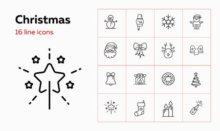 Christmas line icon set. Characters, Santa Claus, reindeer, snowman. Celebration concept. Can be used for topics like December, vacation, holiday