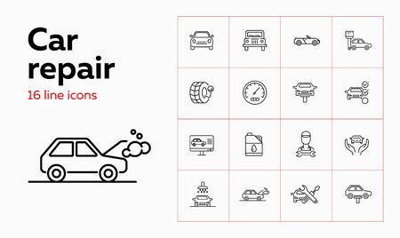 Car repair icon set. Set of line icons on white background. Auto concept. Car, repair service, master. Vector illustration can be used for topics like car, auto, mechanical, service