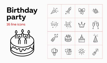 Birthday party line icon set. Decoration, cake with candles, champagne. Celebration concept. Can be used for topics like wedding, surprise, holiday, anniversary