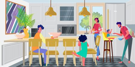Family with kids gathering in kitchen for breakfast. Washing dish, feeding baby, dining table flat vector illustration. Home interior, parenthood concept for banner, website design or landing web page