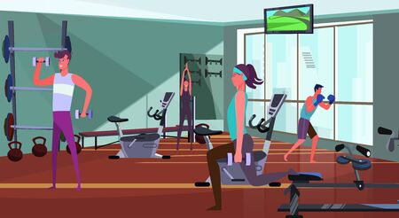 Sporty people exercising in gym. Men and women lifting dumbbells, lunging flat vector illustration. Fitness, equipment, training body concept for banner, website design or landing web page