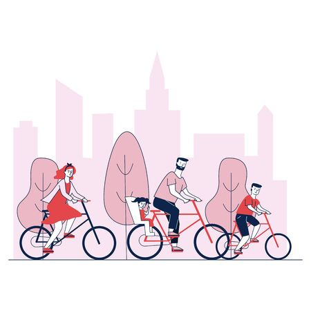 Parents and kids riding bicycles in park vector illustration. Family cycling in city outdoors. Healthy recreational activities, summer sport and leisure activities Stock Illustratie