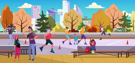Depressed unhappy teenagers at skate park. Roller skating, angry shouting father, outside flat vector illustration. Toxic parents, teen problems concept for banner, website design or landing web page Vectores