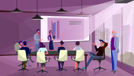 Managers presenting diagrams to partners. Meeting room, presentation, representative flat vector illustration. Project, marketing, business concept for banner, website design or landing web page