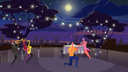 Man giving engagement ring to girlfriend. Couple dating on roof, proposal, dinner flat vector illustration. Romance, love, offer of marriage concept for banner, website design or landing web page
