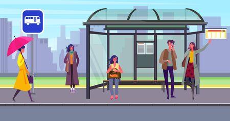 Passagers en attente de transport à l'arrêt de bus. Gare, personnes, abri, illustration vectorielle plane de signe de route. Transport, transport urbain, concept de ville pour la bannière, la conception de sites Web ou la page Web de destination