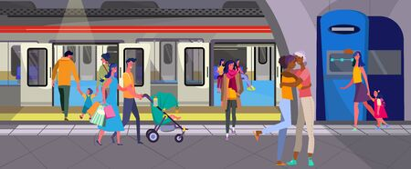 Passengers walking on subway station. People, train, railway flat vector illustration. Tube, transportation, city transport concept for banner, website design or landing web page
