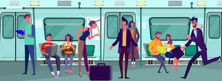 Passengers travelling by subway train. Commuters, carriage, quarrel flat vector illustration. Commuting, public transport, city tube concept for banner, website design or landing web page