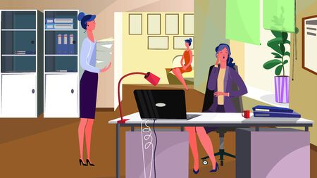 Women working in office. Employees, bored workers, workplace flat vector illustration. Paperwork, corporate communication concept for banner, website design or landing web page Ilustração
