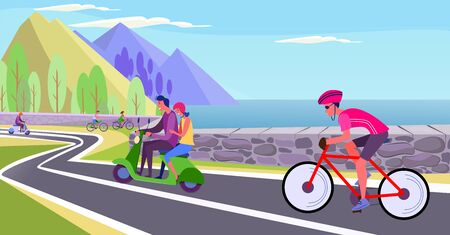 People riding bikes and scooters along seaside. Bike lane, cyclist, bicycle flat vector illustration. Activity, lifestyle, transportation concept for banner, website design or landing web page