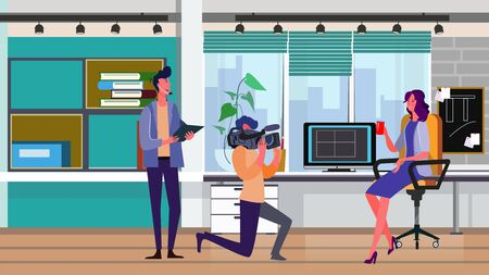 Cameraman filming woman with cup at office workplace. Director, crew, shooting flat vector illustration. Reportage, footage, video commercial concept for banner, website design or landing web page