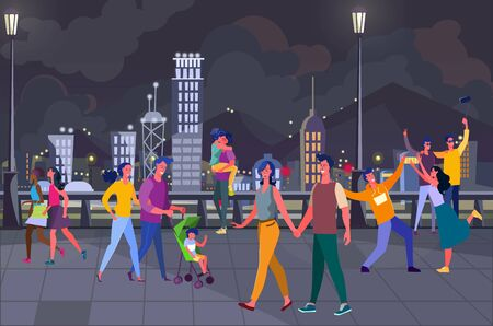 Young people hanging out on city square. Couple family with kid, night, walking tourists flat vector illustration. Nightlife, holiday concept for banner, website design or landing web page