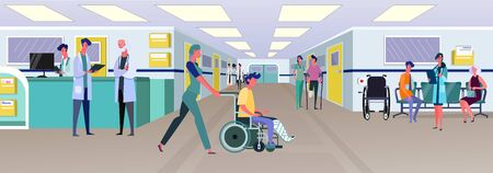 Doctors and patients in hospital corridor. First aid station, wheelchair, broken legs flat vector illustration. Medical assistance, emergency concept for banner, website design or landing web page