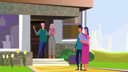 Nouveaux parents avec bébé visitant un couple de personnes âgées. Grands-parents, illustration vectorielle plane maison de banlieue. Parentalité, concept de famille pour la bannière, la conception de sites Web ou la page Web de destination Vecteurs