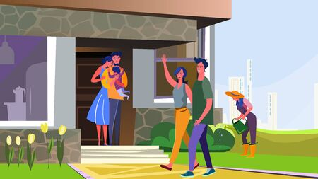 Suburban people walking outside. Family, child, neighbors, gardening flat vector illustration. Country life, neighborhood, communication concept for banner, website design or landing web page