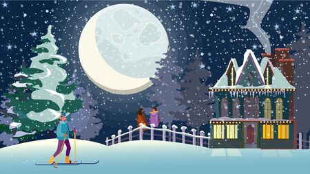 Young people enjoying winter outdoors. Dating couple, skiing girl, country mansion, night flat vector illustration. Outdoor activity, vacation concept for banner, website design or landing web page