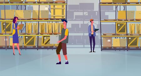 People carrying and counting boxes in warehouse. Courier, cargo, shelves, package flat vector illustration. Logistics, job, shipment concept for banner, website design or landing web page Illustration
