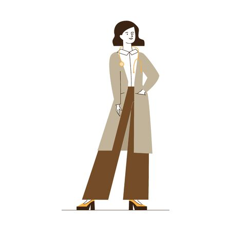 Female physician with stethoscope. Doctor in white coat flat vector illustration. Consultation, clinic, medical checkup concept for banner, website design or landing web page
