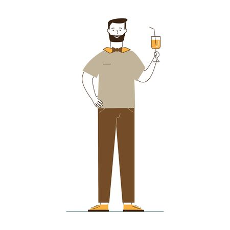 Bartender holding cocktail. Male waiter in bowtie offering drink flat vector illustration. Restaurant, bar, party concept for banner, website design or landing web page