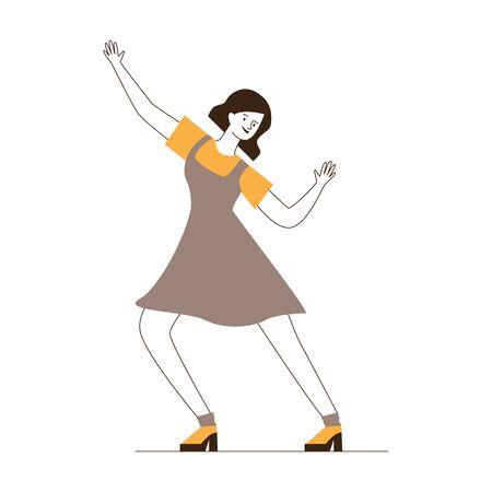 Happy girl dancing twist. Cartoon young woman in dress enjoying retro party flat vector illustration. Having fun, action, leisure concept for banner, website design or landing web page Illusztráció