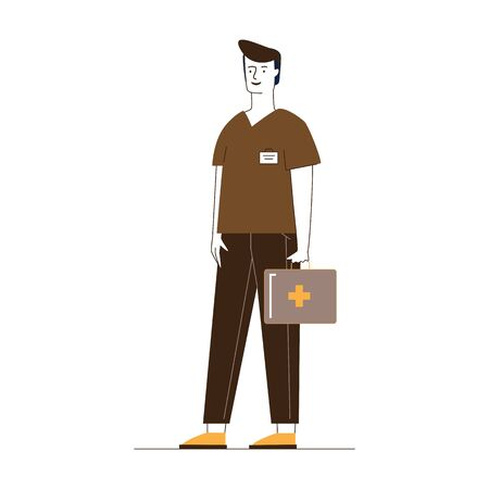 Paramedic with first aid kit. Male character in medical uniform flat vector illustration. Emergency, doctor visiting patient concept for banner, website design or landing web page