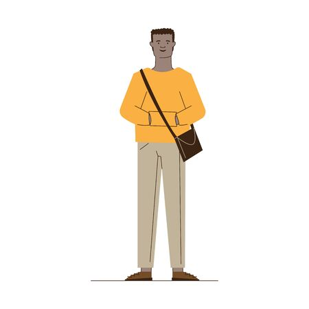 Cartoon dark skinned guy in casual with bag. Full length of black male student flat vector illustration. Fashion, trendy young man concept for banner, website design or landing web page