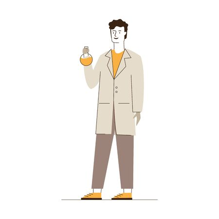 Male lab worker. Man in white coat holding chemical flask flat vector illustration. Laboratory, test, chemist concept for banner, website design or landing web page