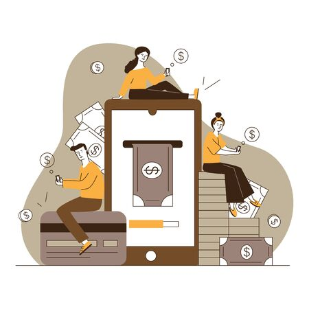 Smartphone users paying online. Men and women with gadgets transferring money flat vector illustration. Internet payment, finance, transaction concept for banner, website design or landing web page
